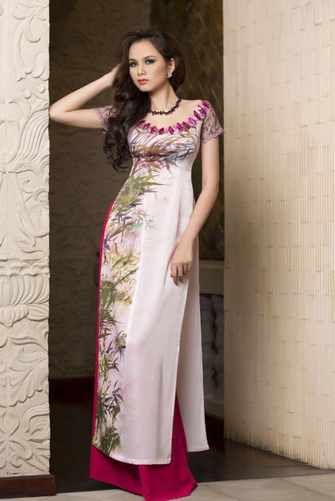 Beautiful dress without traditional collar. Printed ao dai #dress #vietnamese #traditional #custom