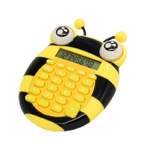 6 Uxcell A09121400ux0106 Cartoon Bee 8 Digits School Office Home Electronic Calculator