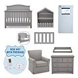 Serta Barrett 7-Piece Nursery Furniture Set with FREE Digital Baby Monitor (ships separately) (Convertible Crib, Toddler Rail, Dresser, Changing Top, Bookcase, Crib Mattress, Glider), Grey