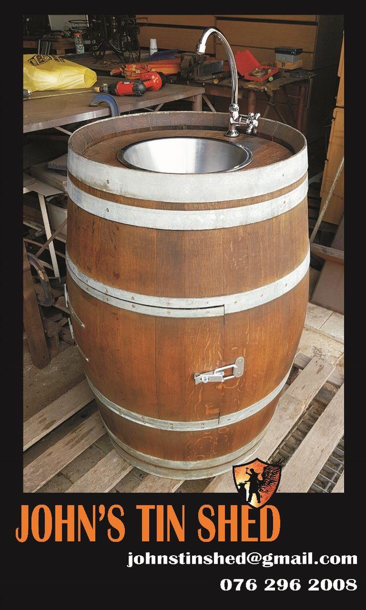 Wine barrel conversion to sink