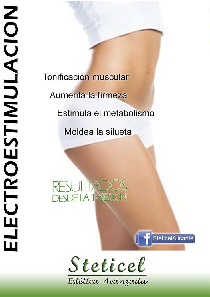 ELECTROESTIMULACION: gimnasia pasiva  STETICEL, la belleza a tu alcance.  C/ Pintor Aparicio, 16. 03003 Alicante. 965 927 556 C/ Alona, 7. 03007 Alicante. 965 25 14 81