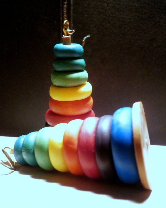 Toy miniature polymer clay stacking hoops earrings by Lijoux