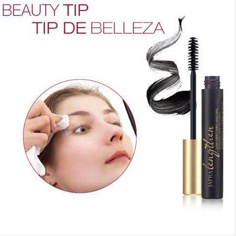 Beauty tips.  Prevent breakage when removing mascara by gently wiping in the direction your lashes grow.  Evita la rotura al quitar la máscara limpiando suavemente en la dirección que tus pestañas crecen.#Beauty www.jafra.com/glow
