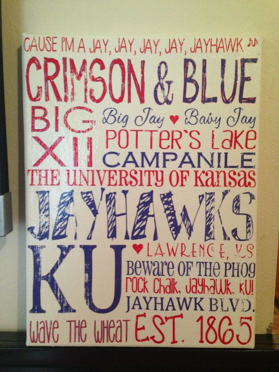 9 x 12 Subway Art  University of KansasJayHawks 'Rustic' Looking Canvas by CreationsbyCLM, $30.00