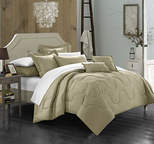 Chic Home 7 Piece Donna Bedding Basics Down Alternative Solid Comforter Set Queen Taupe >>> ON SALE Check it Out