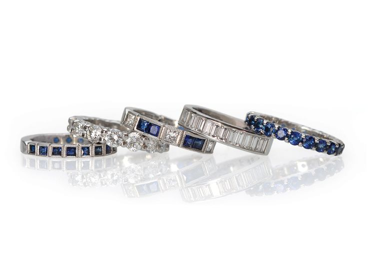 Fine blue sapphire and diamond bands. For staking, wedding bands, or all alone. Union Street Goldsmith, San Francisco