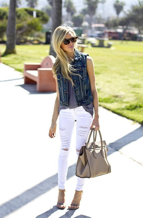 White Ripped Jeans And Denim Vest
