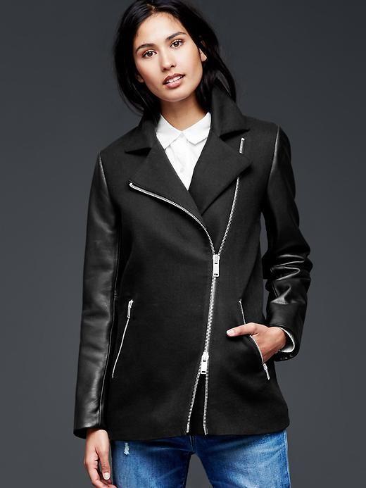 Leather sleeve moto jacket Product Image