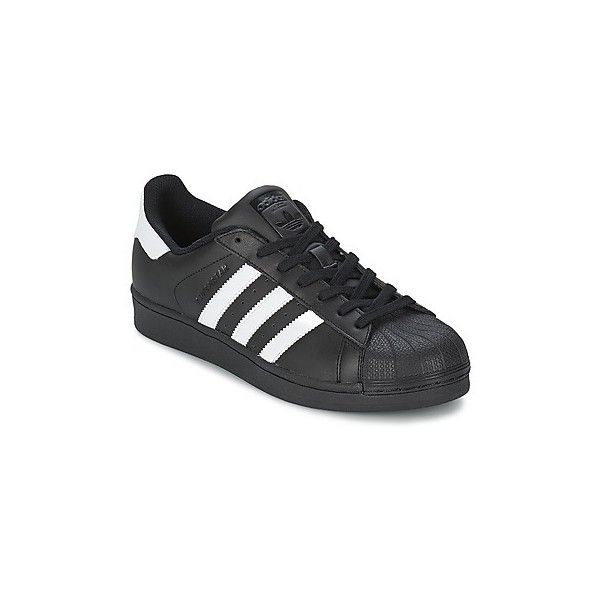 adidas SUPERSTAR FOUNDATION Shoes ($81) ❤ liked on Polyvore featuring men's fashion, men's shoes, men's sneakers, black, adidas mens sneakers, mens black sneakers, adidas mens shoes and mens black shoes