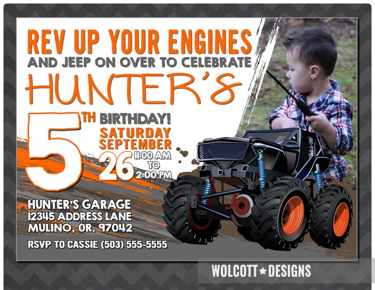 Jeep Birthday Invitations, Jeep Birthday Theme, Jeep Monster Truck, Jeep, 4x4 party by WolcottDesigns on Etsy https://www.etsy.com/listing/261200887/jeep-birthday-invitations-jeep-birthday