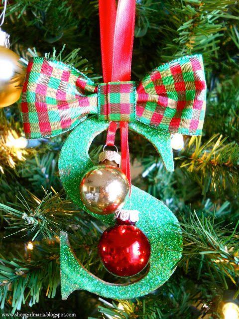 Glittered Monogram Ornament