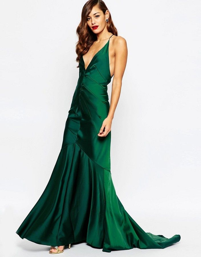 1930s style Old Hollywood dress - Atonement gown - ASOS RED CARPET Deep Plunge Soft Fishtail Maxi Dress