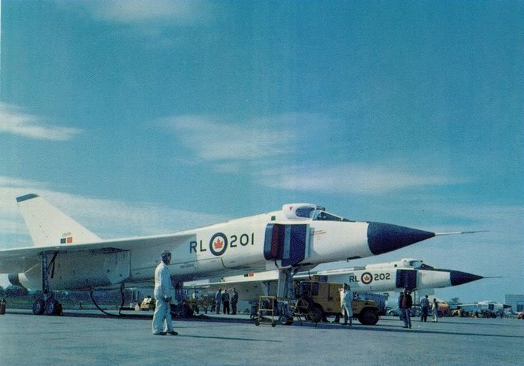 Avro Canada CF-105's, a type before it's time, like the BAC TSR.2 and the Lockheed SR-71.