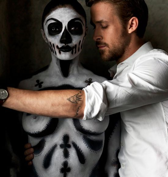 Paint me a skeleton and put me next to the Baby Goose. Ryan Gosling And A Naked Skeleton Woman