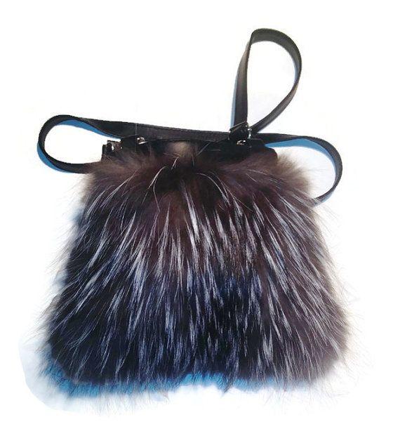 FREE SHIPPING Bag Handbag Shoulder Bag Real Silver Fox by TrixiCookies