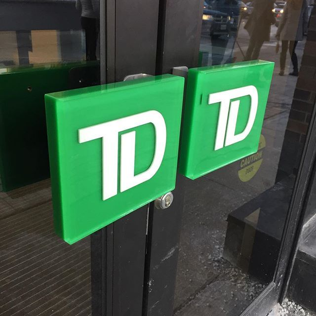Those office door handles you're about to push open to the long weekend? We can make them too! Check out the ones we did for TD, made of durable lucite that won't chip, crack, or break and will withstand any force, from weather to enthusiastic employees arriving to (or leaving from) work.  .  .  .  .  .  #clearmount #lucite #acrylic #doorhandles #madeincanada #clearmountinthewild #torontomade #investinquality #brandinglastingimpressions #familybusiness #cheerstotheweekend