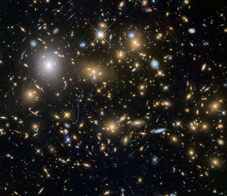 Hubble Telescope. Each of these dots is a whole galaxy!