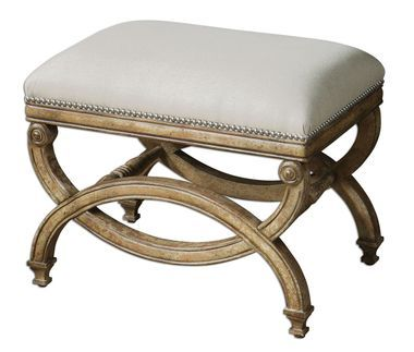 "Karline, Small Indoor Furniture Bench   This Small Indoor Furniture Bench Features A Hand Carved, White Mahogany Frame With Antiqued Almond Finish. Covering Is Natural Linen Accented With Brass Nails.   Depth:17""  Width:24""  Height:19"""