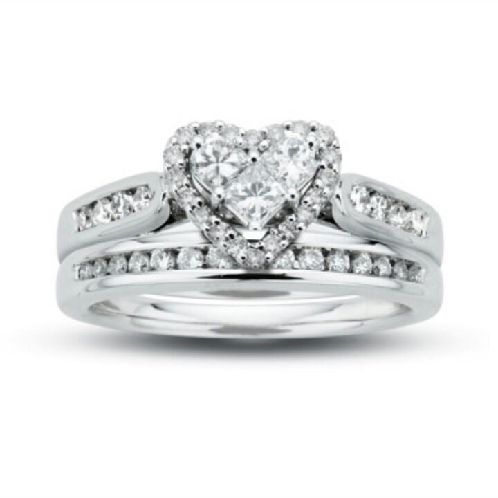10k heart shaped wedding set rings pinterest
