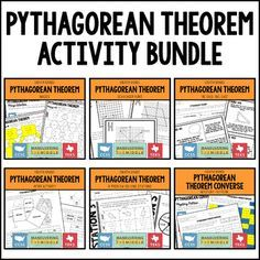 Pythagorean Theorem Activity Bundle - This bundle includes 6 classroom activities to support 8th grade Pythagorean theorem. All are hands on, engaging, easy to prep, and perfect to incorporate into the classroom, intervention time, tutoring, or as enrichment activities.