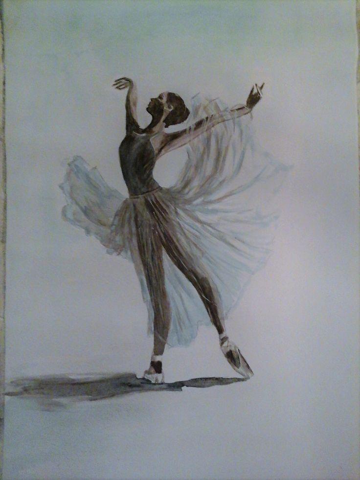 ballerina in sepia and blue. Wtercolour