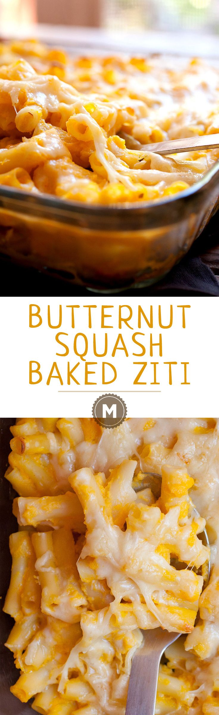 Butternut Squash Baked Ziti: This is such a great fall twist on classic baked ziti. Butternut Squash, Gruyere cheese, and a few spices to tie it all together. Easy to make and will feed a crowd! Baked ziti is the BEST! | macheesmo.com