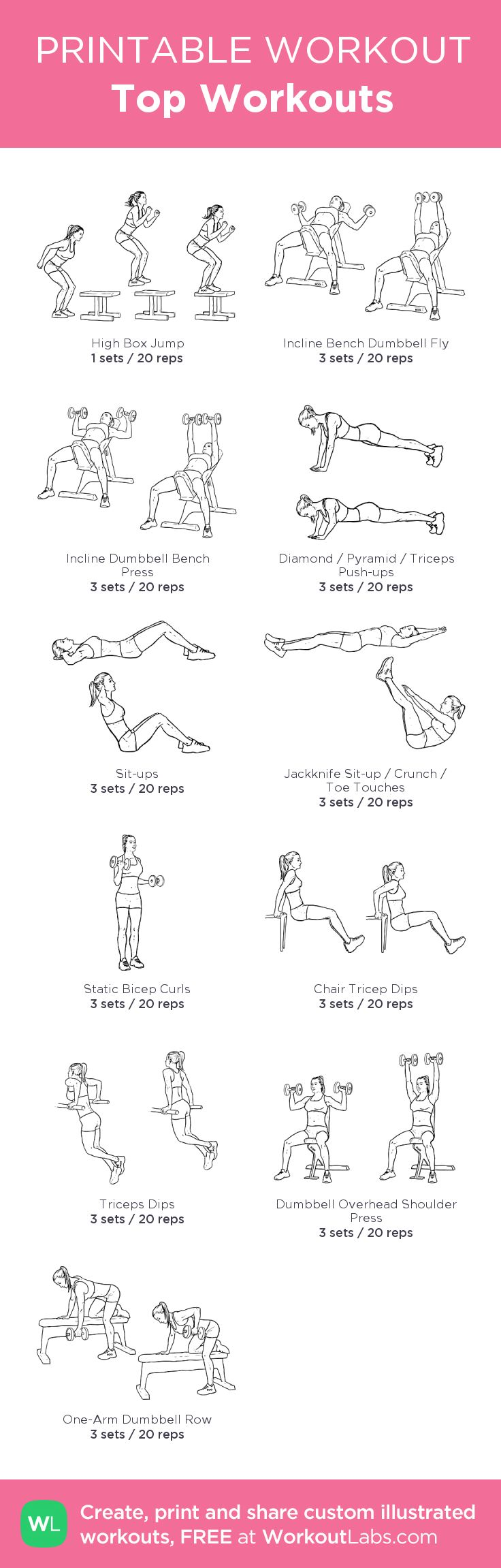 Top Workouts:my visual workout created at WorkoutLabs.com • Click through to customize and download as a FREE PDF! #customworkout