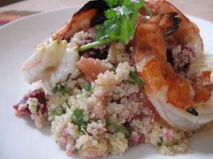 Chef Shachi Mehra's Quinoa Salad garnished with grilled shrimp.