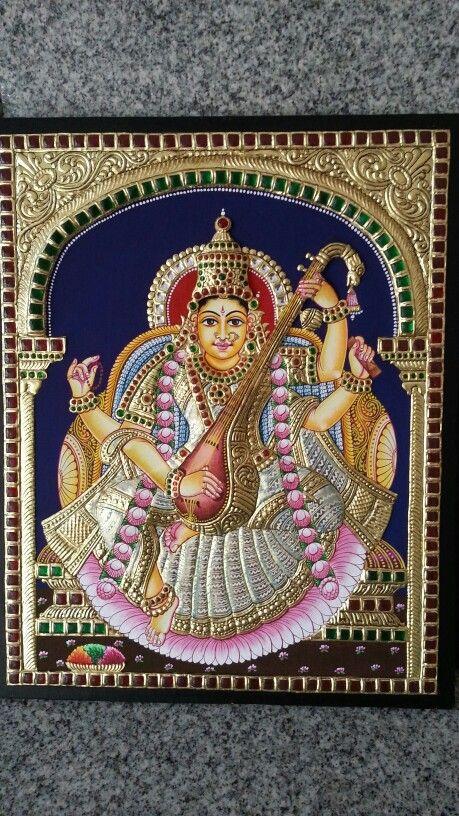 Saraswathi tanjore painting.