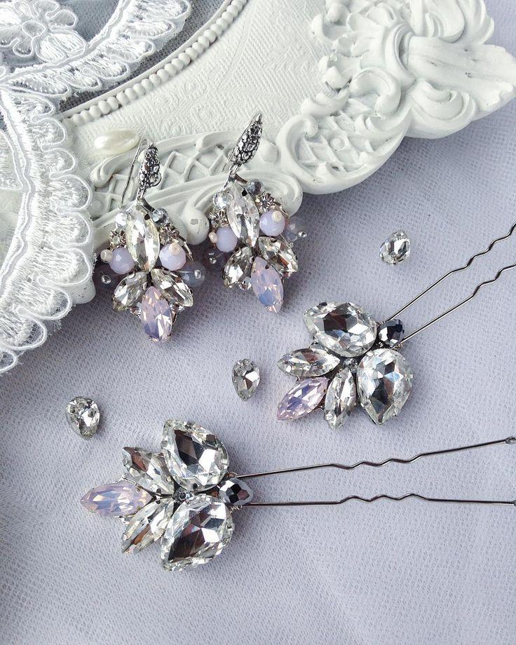 """68 Likes, 3 Comments - Свадебные  Украшения (@vassilkova_bridal) on Instagram: """"Серьги в комплекте с двумя шпильками, кристаллы розовый опал, фурнитура…"""""""