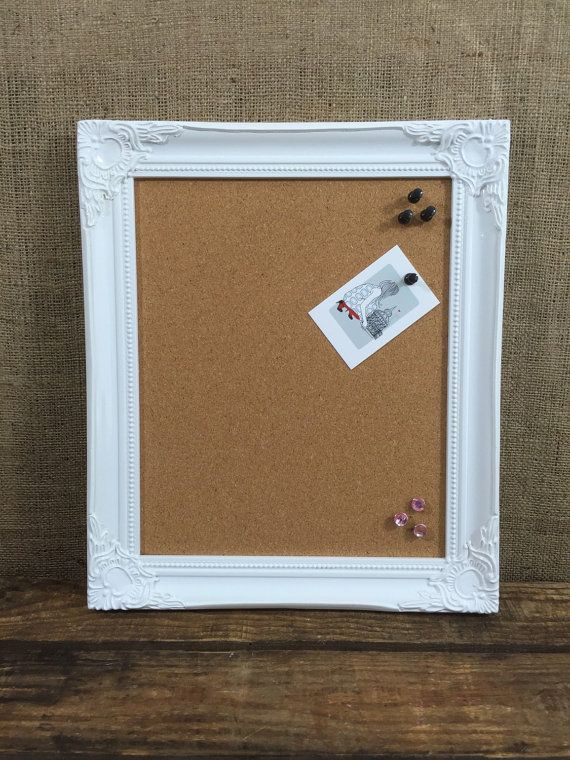 White Wooden Framed Cork Board Framed Pin Board Ornate