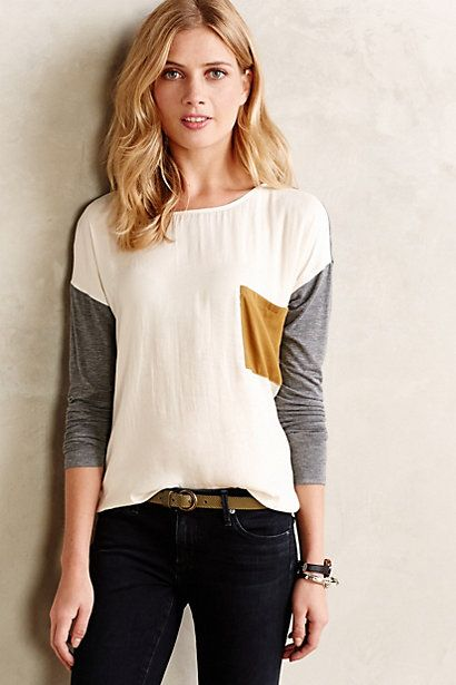 Colorblocked Pocket Top - anthropologie.com - medium, white/grey/mustard pocket