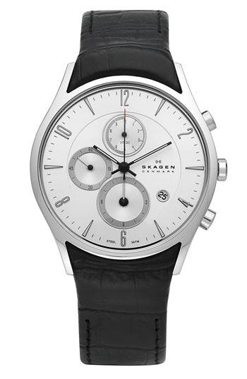 Skagen Chronograph Leather Strap Watch