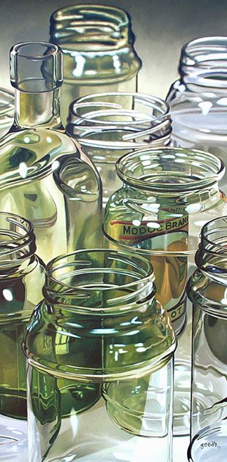 Eight Glass Jars by Gary Cody, 2003 | oil on canvas on board, 48 x 24 inches