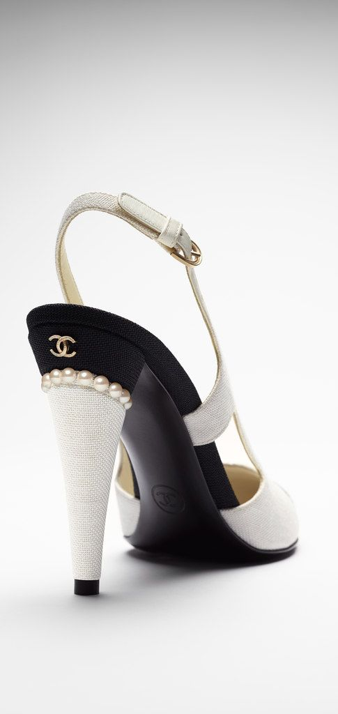 CHANEL Two-Tone Toile Slingback Pumps  with Pearls