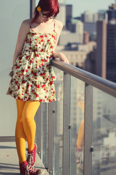 yellow yellowish tights with red converse and flower patter dress. kind of fun!