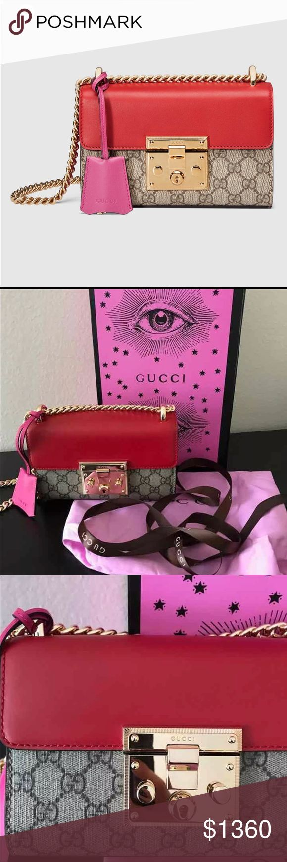 Like new Gucci Padlock Shoulder bag price is firm Like new authentic Gucci Padlock mini shoulder bag. Only used once for a model photo shoot. No signs of wear. Comes with newest pink dust+ authenticity card + box+Gucci shopping bag   Serial number is on the reverse side of the leather tag inside. Number available upon request.  The pink packaging is the lates Gucci packaging. If you are not sure please call Gucci store! Gucci Bags Shoulder Bags