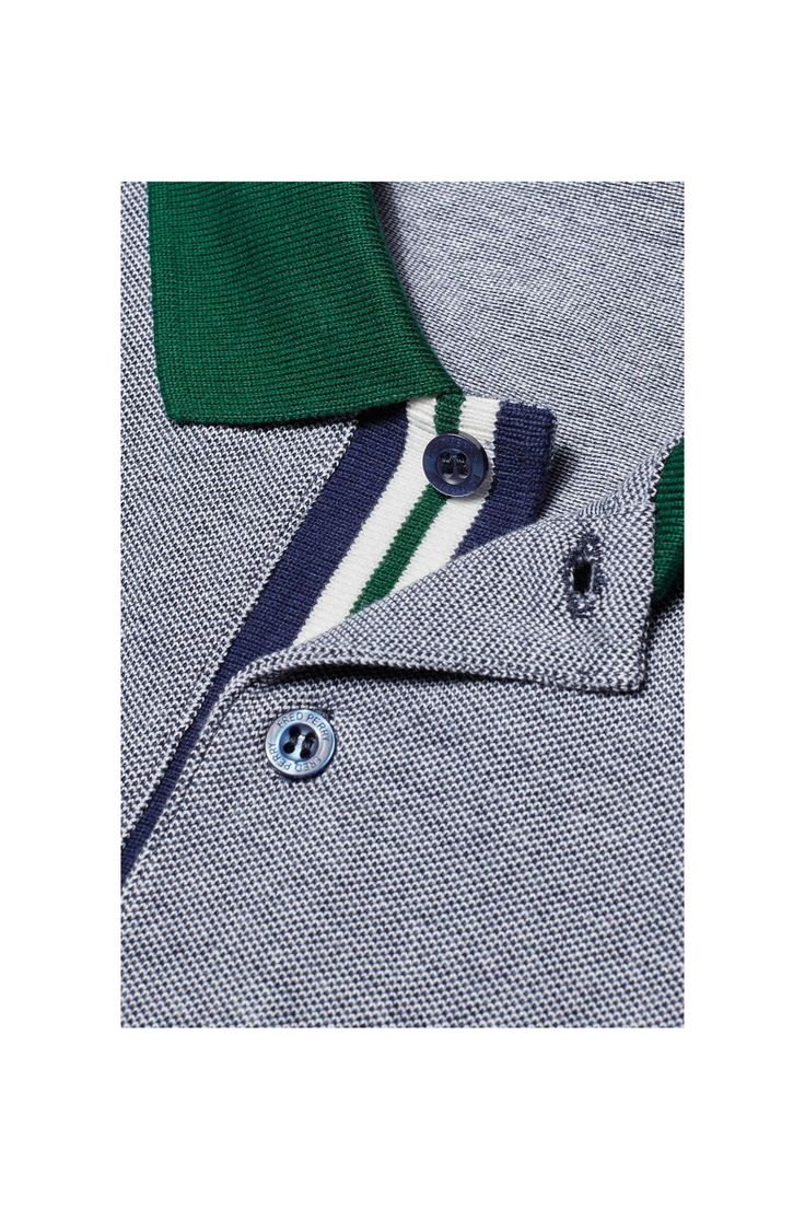 Fred Perry - Colour Block Pique Shirt Dark Carbon Oxford