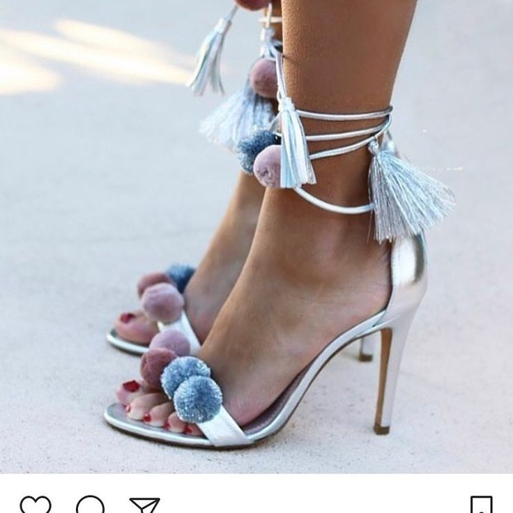 Fashion Women Summer Ankle Strap Fringe Decoration Open Toe Sandals Pompom  Lace-Up Tassel High Heels Women Party Shoes