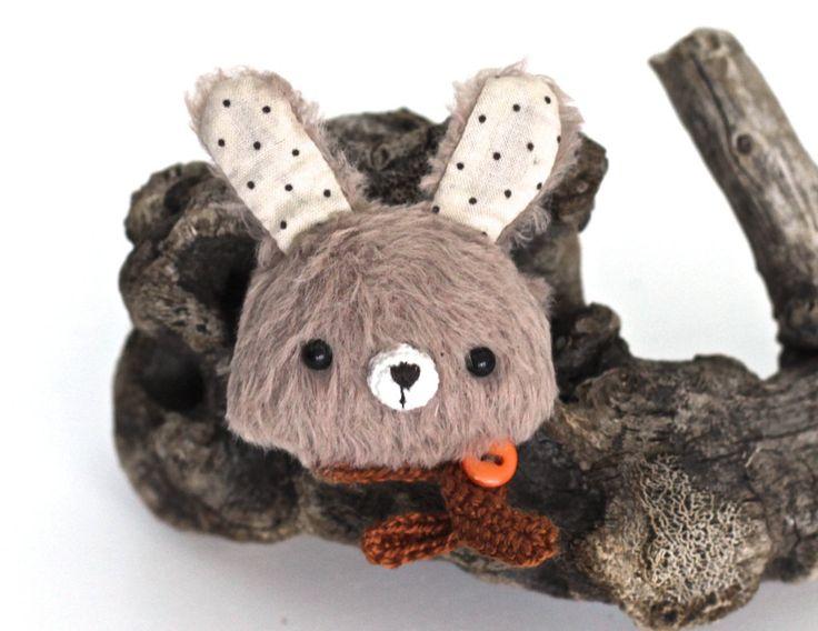 ooak rabbit teddy brooch hare artist animal teddy rabbit gift for her peluch teddy animal totem rabbit toys atr doll by KodamaLife on Etsy