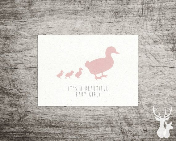 Duck Illustrated 'Beautiful Baby' Card in Pink or by FallowAndRoe