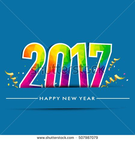 Happy New Year 2017 design background. Calendar template vector elements for calendar and greeting card.