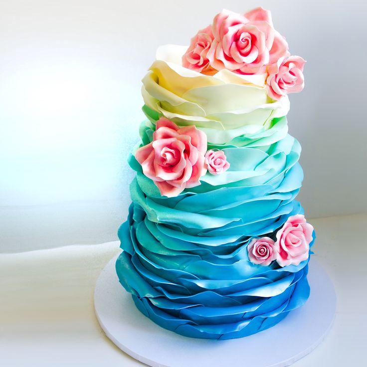 Rainbow Rose Petals Wedding Cake SweetEs Bakeshop Sweetesbakeshop Ruffledcake Weddingcake