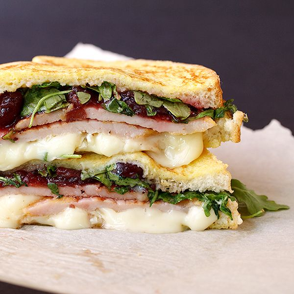 Monte Cristo Sandwich Muskoka Style: Peameal Bacon, Cranberry Sauce, Arugula and Brie cheese