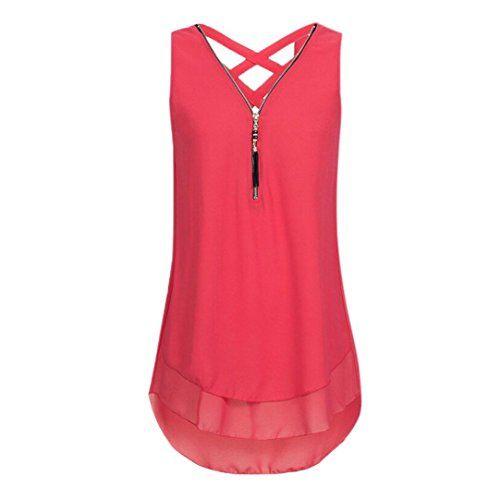 28b5a1f5b665d Walaka Débardeur Femme Grande Taille Col V Zippé Haut Femme Chic Mousseline  de Soie Chemise Sans Manche Tops Tee-Shirt (42/XL Rouge)