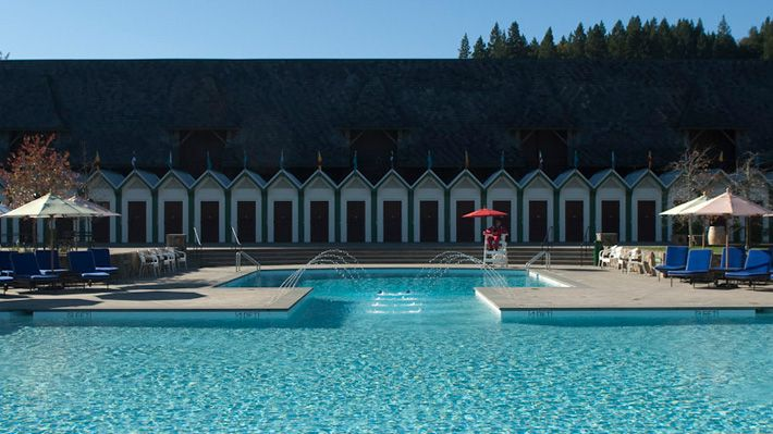 Pool & Cabana & Bocce court at Francis Ford Coppola Winery in Healdsburg