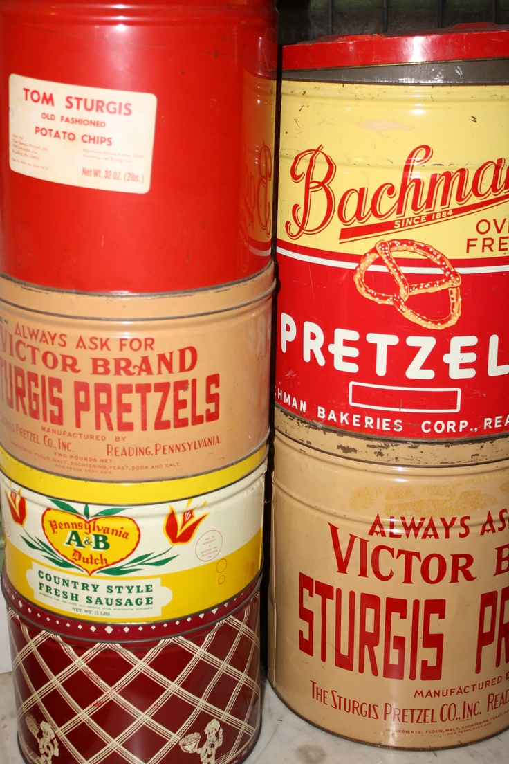 Local vintage pretzel cans.  I like the colors, you can store stuff in them, and pretzels are part of Berks Country's economic history.