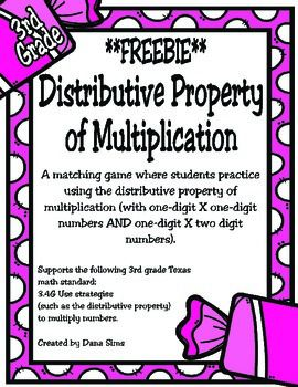 FREEBIEA matching game for students to practice using the distributive property of multiplication.