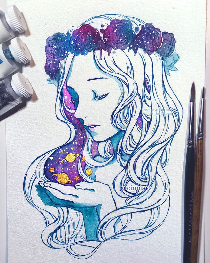 Universe in the Palm of Her Hand by Qinni.deviantart.com on @DeviantArt ~ IT'S SO PRETTY OH WOAH ~