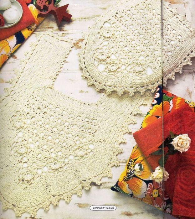 Decoracion De Baño En Crochet:baño juego de conjunto de juego de baño girasoles deco baño crochet